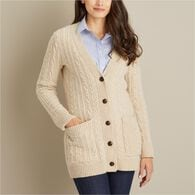 Women's Fisherman Long Cardigan IVORY XSM