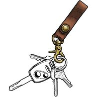 Men's Short Leather Lanyard BROWN