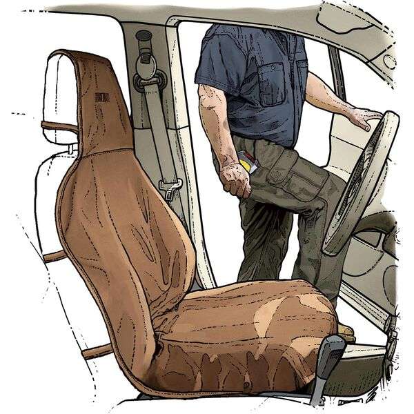 Fire Hose Bucket Seat Cover BROWN