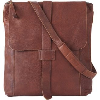 Women's Lifetime Leather Messenger Bag BROWN