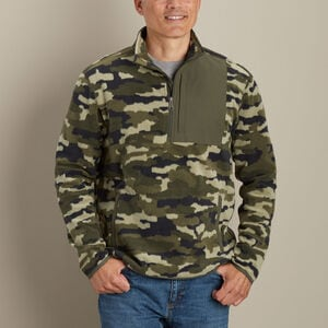 Men's Checkpoint Fleece Pattern 1/4 Zip Mock