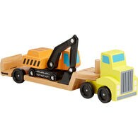 Trailer and Excavator Wooden Vehicles Play Set