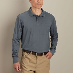 Men's Knuckledown Long Sleeve Polo with Pocket