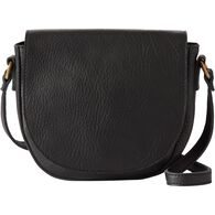 Women's Lifetime Leather Saddle Bag BLACK