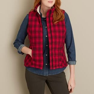 Women's Quilted Flannel Plaid Vest