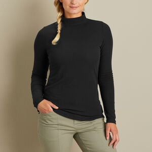 Women's Pima Cotton Willow Knit Rib Mockneck