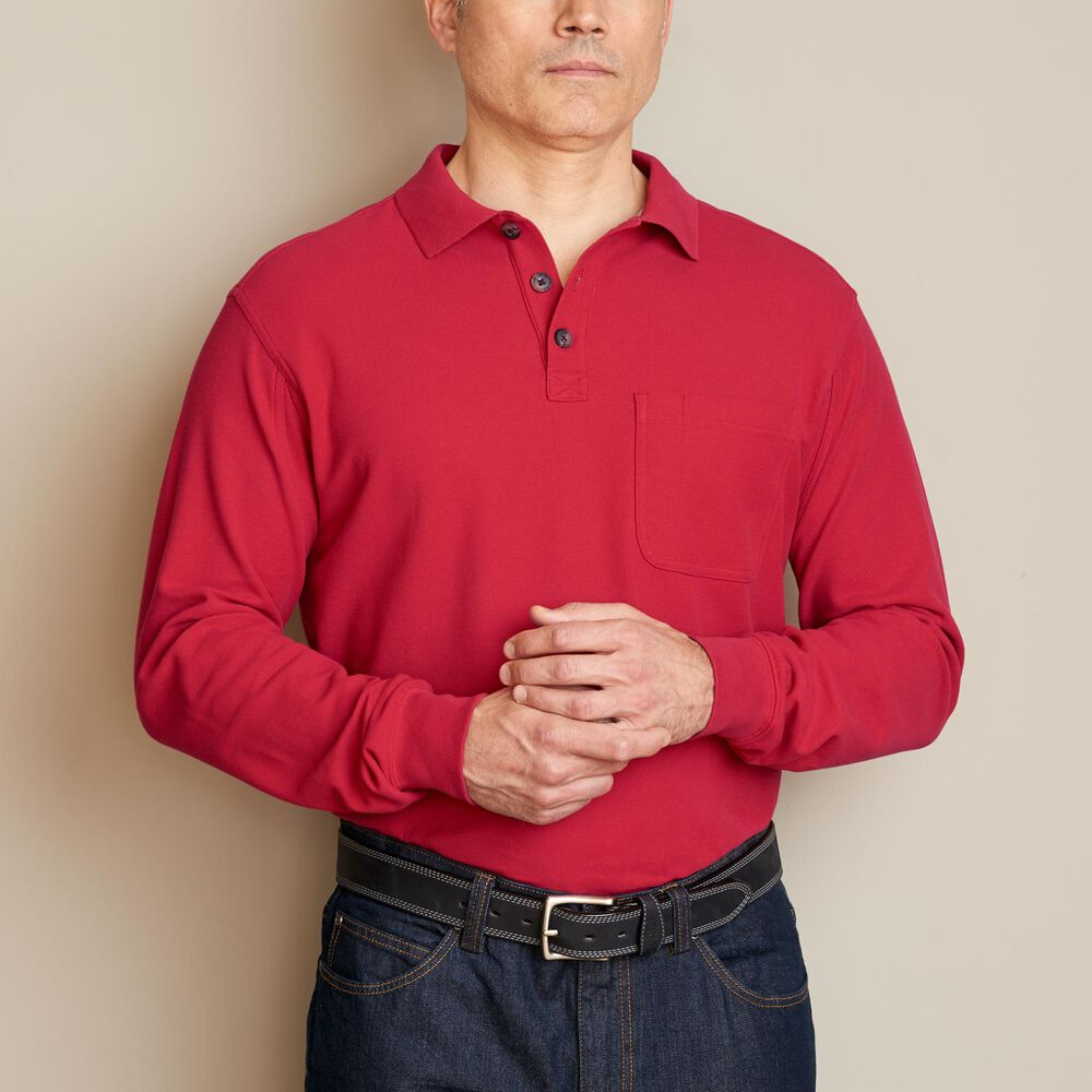 Men's No Polo Long Sleeve Shirt with Pocket | Duluth ...