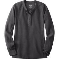 Women's Winter Waffle Long Sleeve Henley  CHARCOA