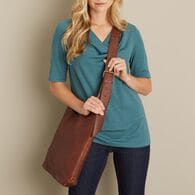Women's Lifetime Leather Crossbody Bag COGNAC