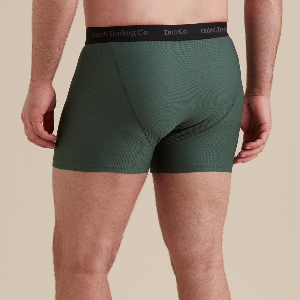 The waistband on the Buck Naked Boxer is an inch-and-a-half thick and is brushed on the inside to lay soft against the skin. The rise is on the higher size, providing full coverage, and the pouch is flat-front with a closer fit. The back of the Buck Naked Boxer has an extra panel for increased flexibility.