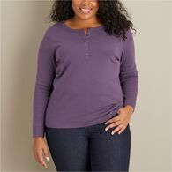 Women's Plus Longtail T Long Sleeve Henley BLACK 3