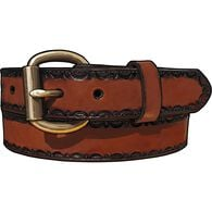 Men's Leather Embossed Edging Belt BROWN 032