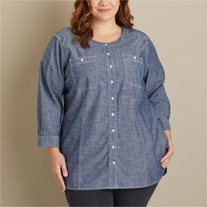 Women's Plus Free Range Organic Chambray Tunic