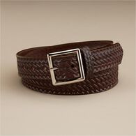 Men's Leather Embossed Braided Service Belt BROWN