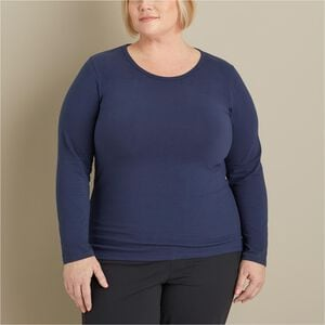 Women's Plus No-Yank Long Sleeve Scoopneck