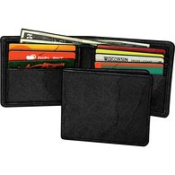 Men's Bison Leather Bi-Fold Wallet BLACK