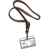 Men's Long Leather Lanyard BROWN