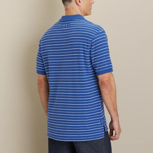 Men's No Polo Short Sleeve Stripe Shirt with Pocket