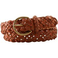 Women's Leather Braided Belt BROWN SM