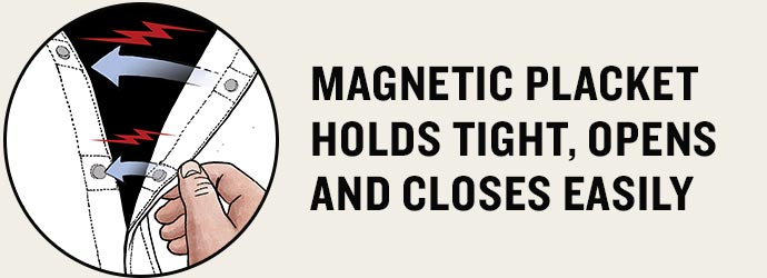 Magnetic placket holds tight, opens and closes easily